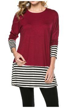 Long Dolman Sleeve Tunic W/ Striped Hem - BodiLove | 30% Off First Order  - 36