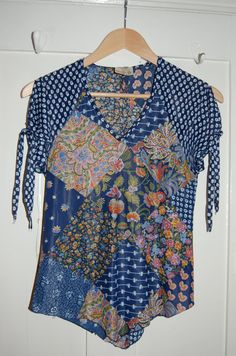 1970s Floral Patchwork Print Blouse with Tie up by BAKERSVINTAGE, $39.00