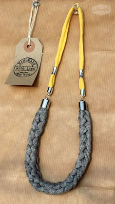 Grey necklace handmade with love and tshirt yarn / trapillo recycled material https://www.etsy.com/uk/listing/202183961/kathy-necklace-by-madila-made-with-eco?ref=shop_home_active_17