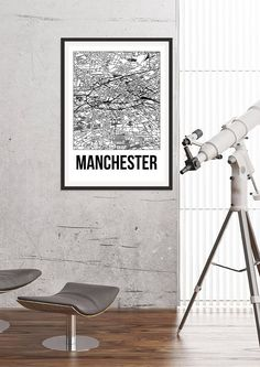 Manchester City Map Print  Black and White Minimalist City