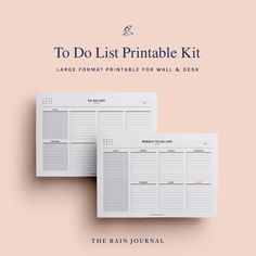 The Rain Journal Printable To Do List Planners - have a look at our huge To Do List Planner Printable library. Find daily, weekly, monthly and yearly checklist, to do list for home, school and work. These are perfect for your binders such as filofax and kikki k.  #printableplanner #planners #printables #printableplanners To Do Lists Printable, Weekly Planner Printable, Printables, Desk Stationery, Journal Diary, Office And School Supplies, Planner Inserts, Note Paper, Planners