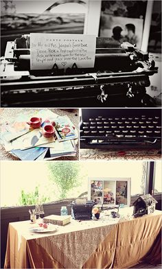 guest book ideas - like note in typewriter (dad has an old one). Also like how they have tables decorated.