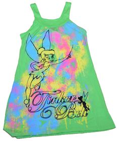 New Authentic Disney Tinkerbell Tinker Bell Lounge Dress Juniors + Stickers