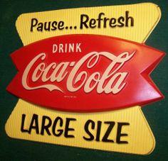 COCA COLA COKE FISHTAIL VINTAGE VACUFORM PLASTIC SIGN 3-D PAUSE REFRESH LARGE SZ