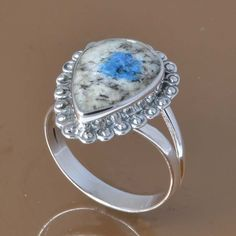 925 SOLID STERLING SILVER K-2 GEMSTONE RING 3.59g DJR7504 SZ-7.5 #Handmade #Ring