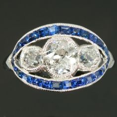 Platinum Art Deco 1.60 old mine brilliant cuts engagement ring with sapphires