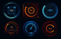 Power meters, fast or slow internet connection speed meter stages. Automobile digital odometer indicator display technology for racing game vector isolated icons concept set , Internet Speed Test, Car Gauges, Pain Scale, Car Ui, Fast And Slow, Modern Tools, Phone Themes, Display Technologies, Gauges