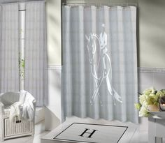 Equestrian Shower Curtain, with Dressage Rider. Horse Themed Shower Curtain. White & Grey