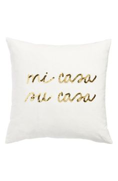 Pin for Later: These Decorative Pillows All Have 1 Thing in Common: Spanish!  Bow & Drape 'Mi Casa, Su Casa' Pillow ($39)