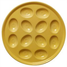 Shop Fiesta Serveware Products | The Fiestaware Sunflower Yellow Deviled Egg Platter holds up to 12 deviled egg halves for serving at parties, baking in the oven, or storing in the refrigerator. Made in the USA from vitrified lead-free china. Model 724320 $19.95