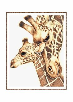 Mom and Baby Giraffes Note Card Set of 10 by voilavc on Etsy, $30.00