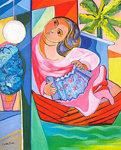 Moça no Barco - Cícero Dias e suas principais pinturas ~ Pintor pernambucano