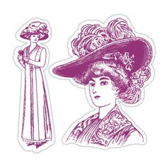 Sizzix Die Cut Template & Repositionable Rubber Stamp Set Lady w/ Hats Set #Sizzix