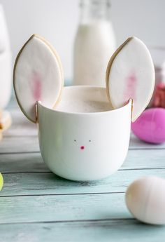Transform your cup of coffee or cocoa into a cute Easter Bunny with these yummy bunny ear cookies!