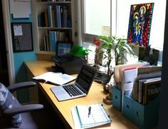 My desk in a rare moment of clean, from the interview Scoutie Girl did with me.