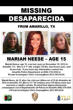 Mariah Neese, 15, missing since 12/10/2012, Amarillo, TX.