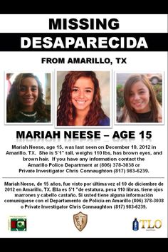 Mariah Neese, 15, missing since 12/10/2012, Amarillo, TX.