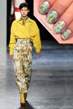 Our new manicure muse on Haute Talk feature's MissLadyFinger.com's Acne Fall 2012 inspired nail looks!