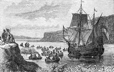 1609 – Henry Hudson discovers Manhattan Island and the indigenous people living there Thea Queen, East India Company, Jersey City, New Jersey, Map Activities, Rockaway Beach, Engraving Illustration, New Amsterdam, Colonial America