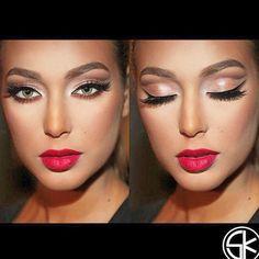 "Amazing work by @samerkhouzami  Re-create this looks with #Eyelashi ""DREAMER"" #mink #lashes #falsies #mua #king #talented #amazing #glam #gorgeous #gold #glitter #red #lips #beauty #tour #Holland #Vancouver #worldwide ❤️ Visit us as www.eyelashi.com"