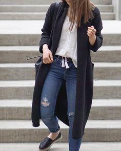 A Little Detail - Bohemian Blouse & Cardigan Coat #cardigan #bohemianblouse #rippedjeans #espadrilles #bucketbag #uoonyou #myaritzia #outfit #springfashion #casual #womensfashion