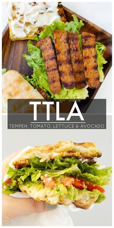 This TTLA Sandwich (aka the vegan BLT) is loaded with Tempeh bacon, Tomato, Lettuce & Avocado. One of the BEST sandwiches EVER! Blt Recipes, Vegan Lunch Recipes, Veggie Recipes, Whole Food Recipes, Cooking Recipes, Vegan Meals, Cooking Tips, Sandwich Recipes, Delicious Recipes