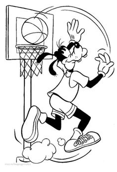 Print Goofy Playing Basket Ball Coloring For Kids