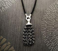 Onyx Lariat necklace. Boho necklace Sterling Silver by KRAMIKE