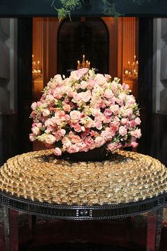 Pros: I like the light shades of pink in this arrangement. It's playful, but I'd like it a bit more mixed with the ivories and whites. I like the use of un-budded blooms to add some 'green' to it without using green bohemian looking leaves. Reception Decorations, Event Decor, Wedding Centerpieces, Gold Wedding, Dream Wedding, Wedding Day, Wedding Colors, Wedding Flowers, Floral Arrangements