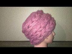 Шапка с объемной косой - YouTube Tricot Simple, Crochet Tablecloth, Crochet Accessories, Lana, Knitted Hats, Crochet Top, Hand Weaving, Wool, Knitting