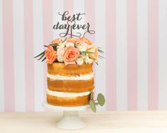 Beautiful cake for a small private wedding celebration - your mom can bake it and viola!   Best Day Ever Cake Topper Better Off Wed  Seen on Oh So Beautiful Paper