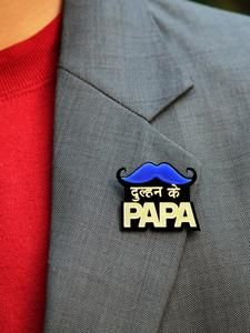 Dulhan Ke Papa Brooch, a handmade statement brooch from our wide range of quirky wedding collection for men. Desi Wedding Decor, Wedding Stage Decorations, Wedding Props, Pre Wedding Photoshoot, Quirky Wedding, Indian Wedding Favors, Pre Wedding Shoot Ideas, Wedding Cars, Wedding Mandap