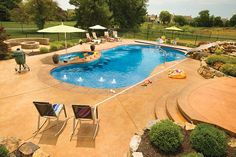 From custom designed, luxury free-form pools to standard lap pools, we offer a wide range of Inground Pool shapes to fit a variety of backyards and budgets! Backyard, Patio, Cool Pools, Pool Ideas, Pool Designs, Water Features, Yards, Gallery, Building
