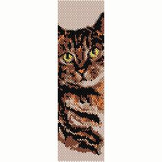 Brown Tabby Cat Peyote Bead Pattern, Bracelet Cuff, Seed Beading Pattern Miyuki Delica Size 11 Beads - PDF Instant Download
