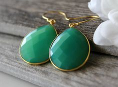 SUMMER SALE Medium Emerald Green Chalcedony Drop Earrings, Chrysoprase Green, Large Dangle, Large Drop, Gold Vermeil, Huge Teardrop