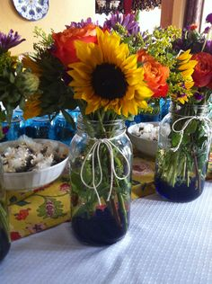 Flower arrangements I made for a BBQ couple's wedding shower