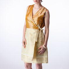 Cream Brocade and Gold Silk Wrap Bridesmaids Dress - Shubrah