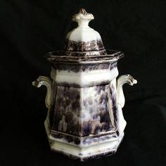 BEAUTIFUL J WEDGWOOD 19TH CENTURY FLOW PURPLE PERUVIAN IRONSTONE LIDDED URN JAR Wedgwood, Urn, 19th Century, Flow, Purple, Tableware, Beautiful, Black, Dinnerware