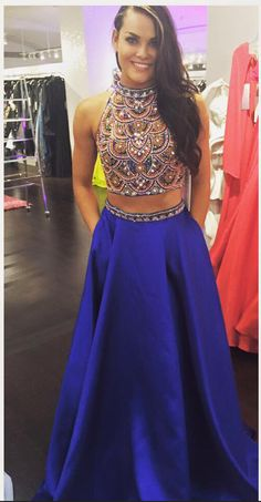 Shinny Beaded Top Prom Dress with Pocket,2 Pieces