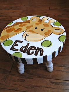Such a cute idea for the little ones!   Giraffe Step Stool Custom. $35.00, via Etsy.