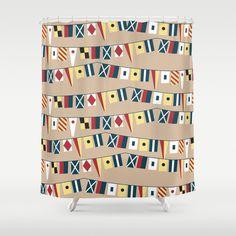 Shower Curtain: Nautical Signaling Flags 12 Hole Fabric Machine Washable Bathroom Decor on Etsy, $60.00