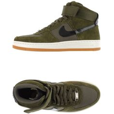 Nike Sneakers ($88) ❤ liked on Polyvore featuring shoes, sneakers, nike, military green, leather sneakers, green leather sneakers, leather shoes y flat sneakers