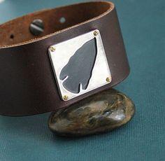 Mens Leather Cuff Bracelet Silver Arrowhead by LynnToddDesigns