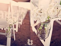 Jars with white flowers