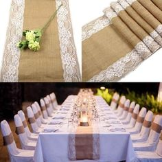Rustic Burlap Lace Table Runner Natural Jute for Wedding Festival Event Table Decoration White Lace Burlap Lace Table Runner, Lace Runner, Jute, Rustic Wedding Centerpieces, Wedding Decorations, Table Decorations, Horse Head Wreath, Outdoor Wedding Reception, Wedding Tables