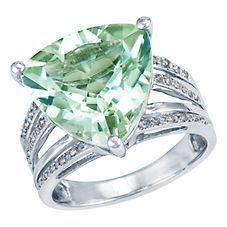 Trillion cut green gem on white gold ring