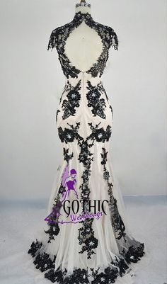 GW630, black lace, black and white gown, black and white dress,