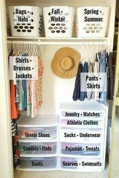 Schlafzimmer Schrank Ideen - Organize a Small Closet on a Budget in Only 5 Simple Steps! Dorm Room Organization, Organization Hacks, Clothing Organization, Clothing Storage, Dorm Room Storage, Wardrobe Organisation, Craft Storage, Bag Storage, Wardrobe Ideas