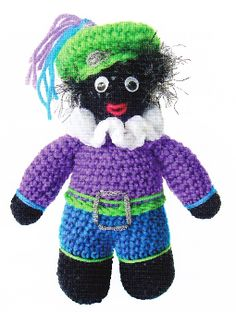 gratis-haakpatroon-zwarte-piet Amigurumi Patterns, Amigurumi Doll, Knitting Patterns, Crochet Patterns, Crochet Gratis, Crochet Dolls, Knit Crochet, Baby Toys, Kids Toys