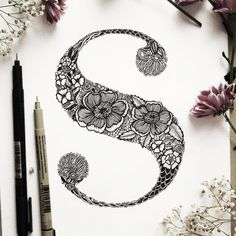 """Floral """"S"""" // #s #lettering  #graphicdesign #illustration #drawing #ink…"""